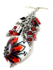 Lampwork Glass Painted Daisy Beaded Pendant Necklace #2693D - Bead Dangle Design