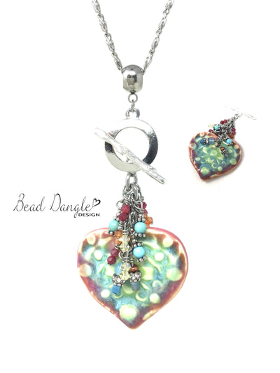 Handmade Porcelain Heart Colorful Beaded Pendant Necklace #2372D