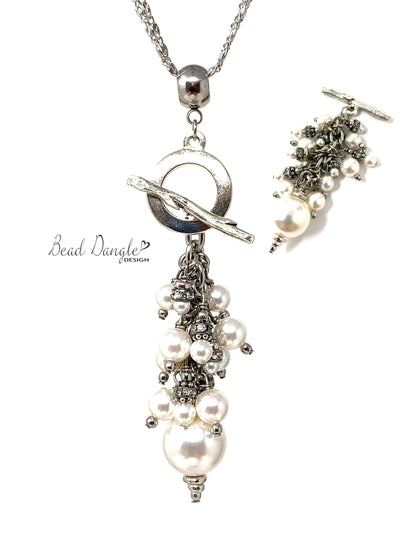 White Swarovski Pearl Beaded Cluster Pendant Necklace #3177D - Bead Dangle Design