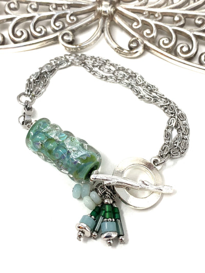 Dichroic Lampwork Glass Interchangeable Dangle Bracelet #3216BC
