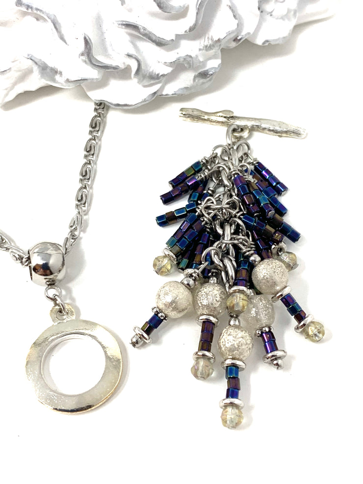 Pretty Glass Seed Bead Dangle Pendant Necklace #2654D - Bead Dangle Design