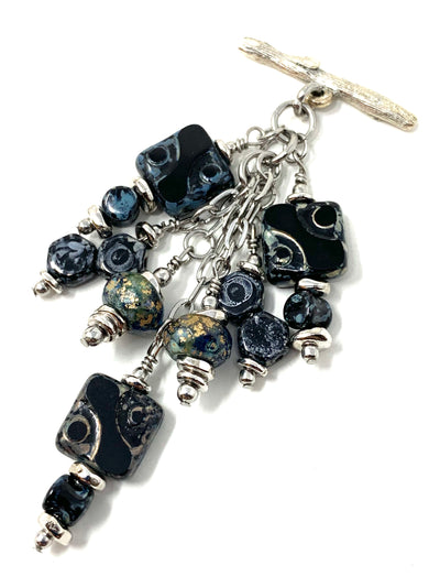 Black and Gray Czech Glass Beaded Dangle Pendant Necklace #2652D