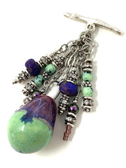 Mint Green, Purple and Blue Ceramic Glass Beaded Cluster Pendant Necklace #2634D - Bead Dangle Design