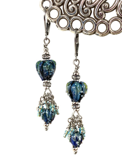 Gorgeous Lampwork Glass Tulip Beaded Dangle Earrings #1379E - Bead Dangle Design