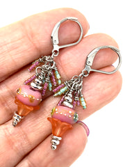 Lampwork Glass and Seed Bead Dangle Cluster Earrings #1147E - Bead Dangle Design