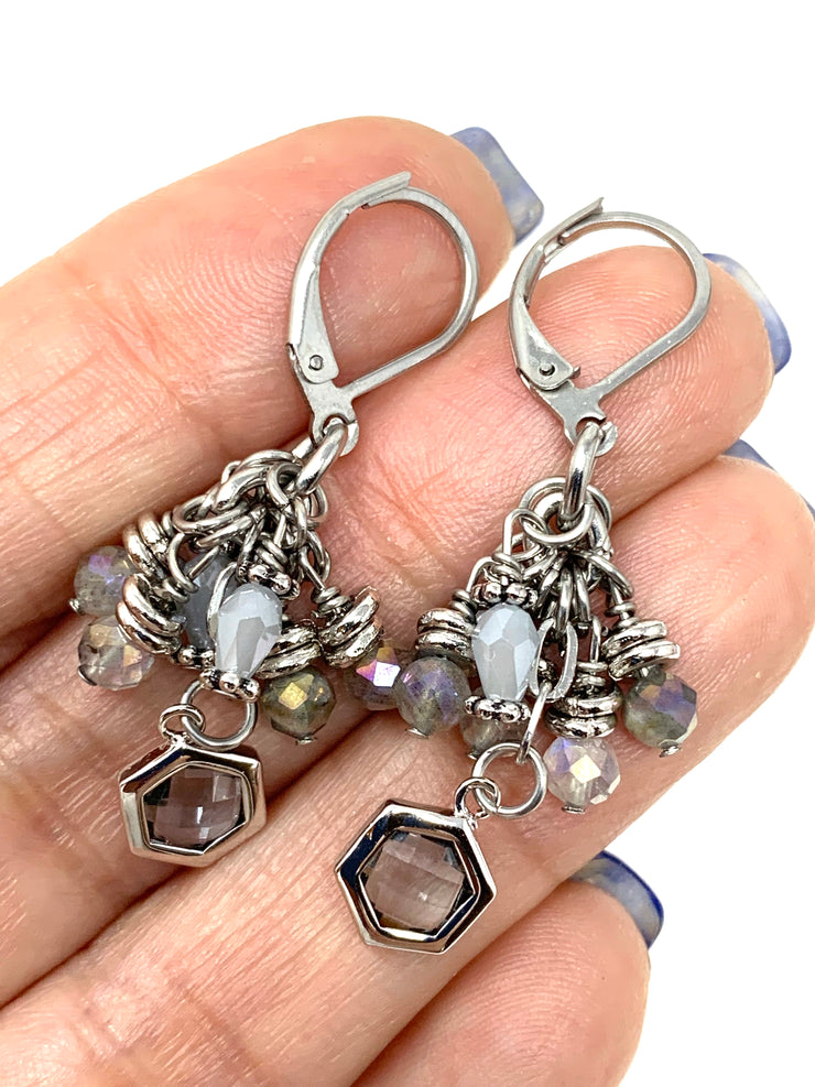Faceted Crystal Quartz and Moonstone Beaded Cluster Earrings #1134E - Bead Dangle Design