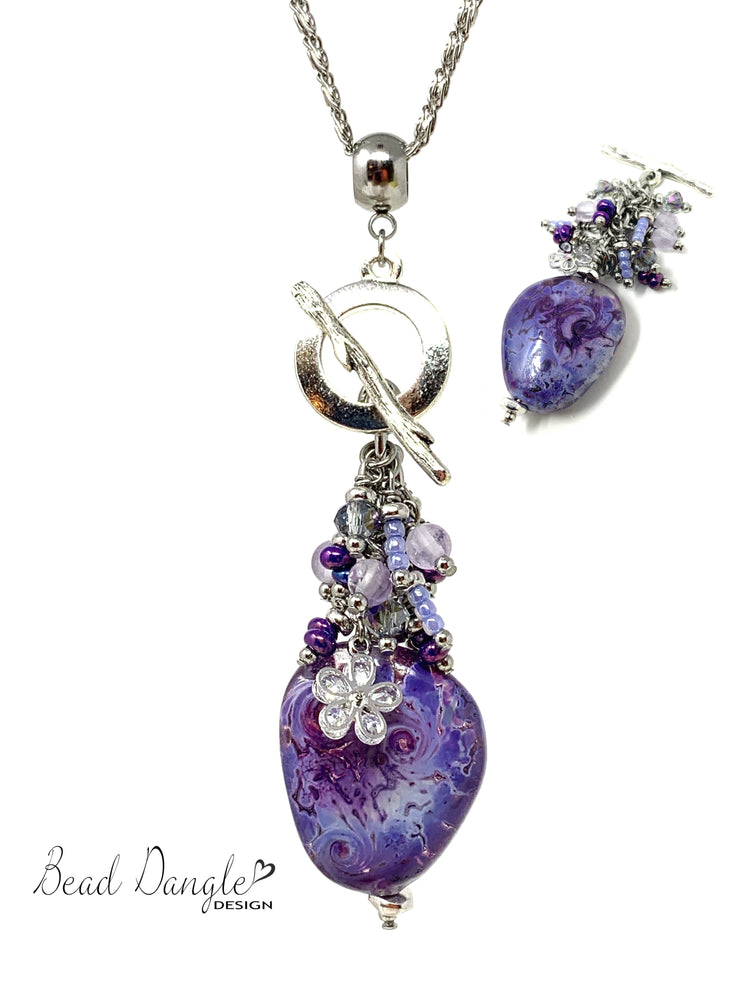 Beautiful Lampwork Glass Beaded Cluster Dangle Pendant Necklace #2346D - Bead Dangle Design