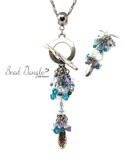 Swarovski Crystal Beaded Cluster Pendant Necklace #2456D - Bead Dangle Design