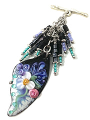 Lampwork Glass Painted Enamel Butterfly Wing Beaded Cluster Necklace #2311D - Bead Dangle Design