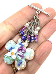 Hand-Painted Lampwork Glass Copper Enamel Floral Beaded Cluster Pendant #2631D