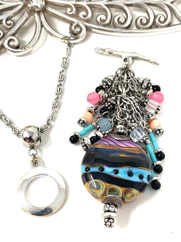 Colorful Lampwork Glass Beaded Cluster Necklace #2683D - Bead Dangle Design