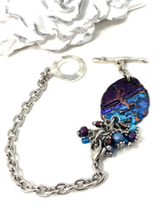 Boho-Chic Polymer Clay Embossed Interchangeable Dangle Bracelet Pendant #31068BC - Bead Dangle Design