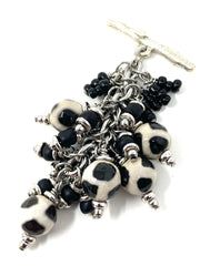 Black and White Agate Beaded Cluster Pendant #2627D