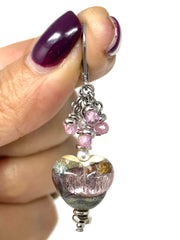 Lampwork Glass Pink Shimmer Heart Bead Beaded Dangle Earrings #1262e - Bead Dangle Design