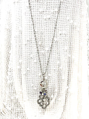 Pewter Swirl Rainbow Pyrite Beaded Cluster Necklace #2330D