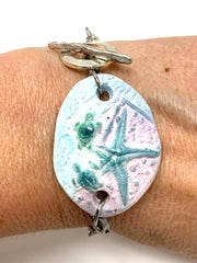 Turtle and Starfish Polymer Clay Interchangeable Dangle Bracelet Pendant #3096BC