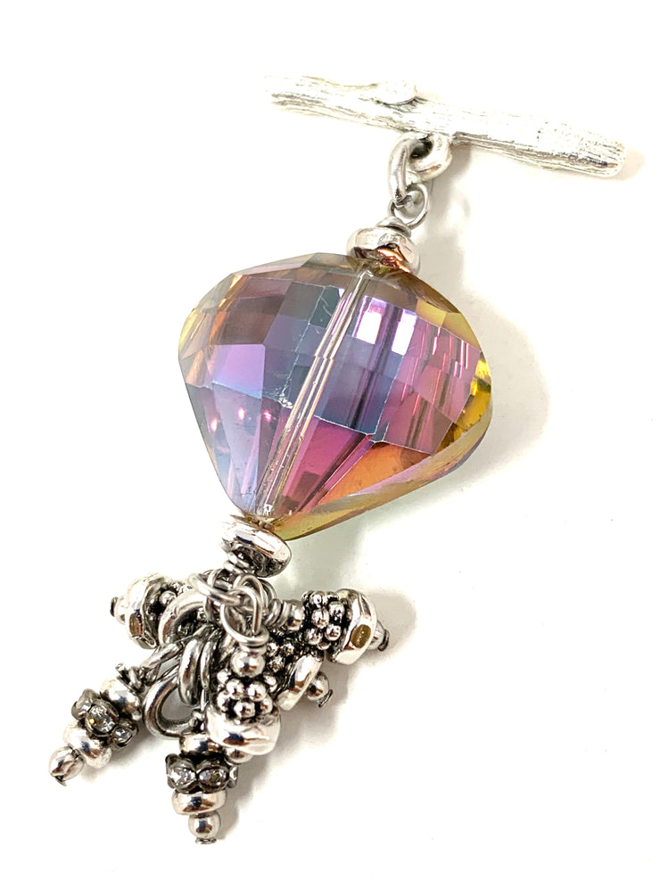 Rainbow Crystal Interchangeable Beaded Dangle Bracelet #3230BC