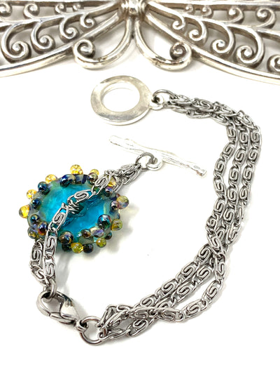 Lampwork Glass Interchangeable Dangle Bracelet #3217BC