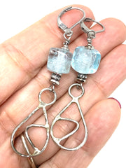 Crystal Blue Lampwork Glass Beaded Dangle Earrings #1217E - Bead Dangle Design