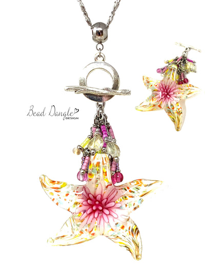 Glass Blown Starfish Beaded Dangle Pendant Necklace #3135D - Bead Dangle Design