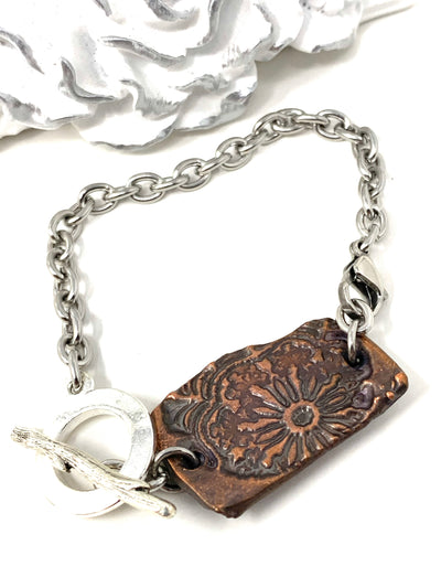 Copper Polymer Clay Floral Boho-Chic Interchangeable Dangle Bracelet Pendant #31070BC