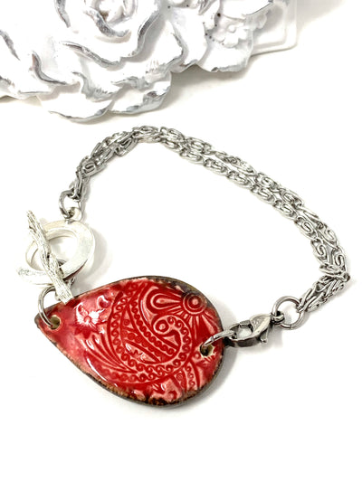 Ceramic Red Filigree Floral Interchangeable Dangle Bracelet Pendant #3106BC