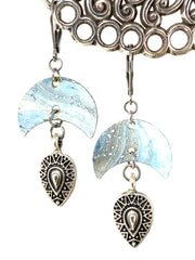 Pale Blue Swirl Patina Beaded Dangle Earrings #1218E - Bead Dangle Design
