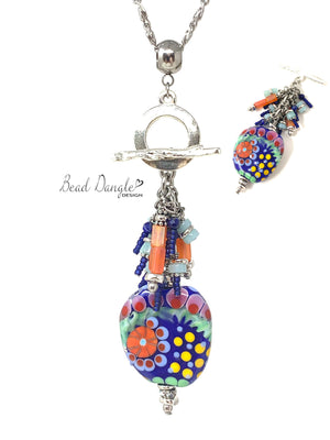 Oh So Summer Lampwork Glass Colorful Beaded Cluster Dangle Necklace #3238D - Bead Dangle Design