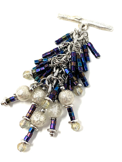 Pretty Glass Seed Bead Dangle Pendant Necklace #2654D