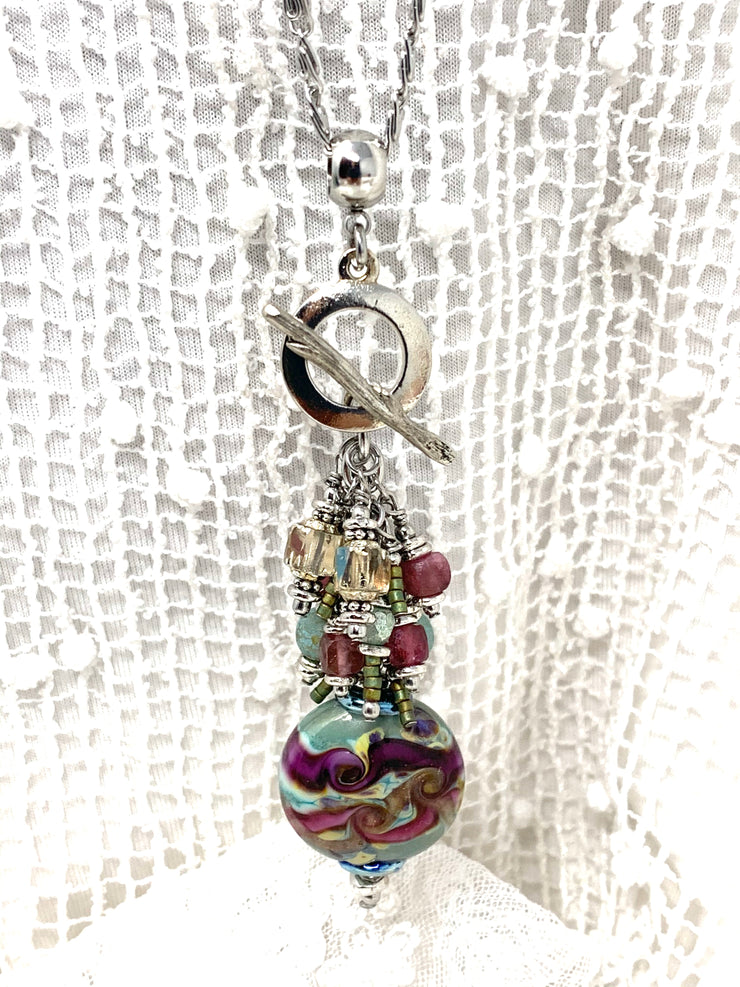 Burgundy Swirl Lampwork Glass Beaded Cluster Necklace #2687D - Bead Dangle Design