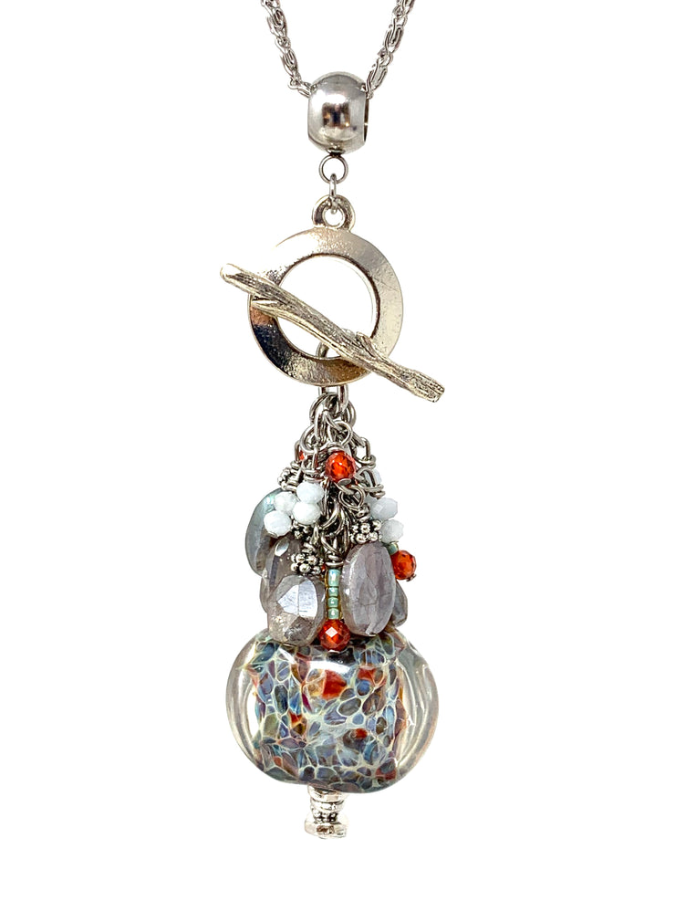 Gorgeous Lampwork Glass and Mystic Moonstone Beaded Pendant Cluster Necklace #2636D