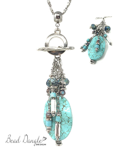 Turquoise Beaded Cluster Dangle Pendant Necklace #2340D - Bead Dangle Design