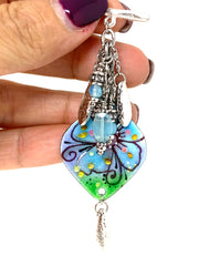Floral Painted Enamel Beaded Cluster Pendant Necklace #2412D - Bead Dangle Design