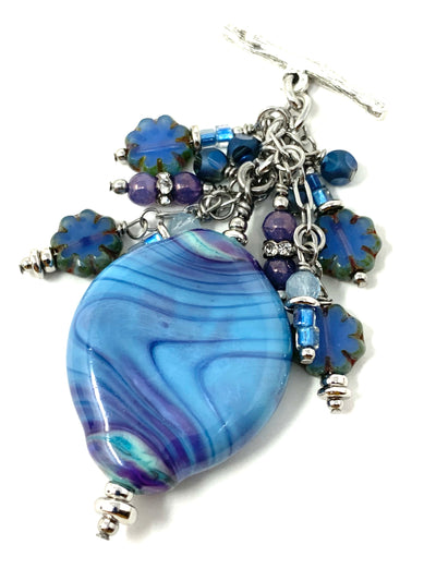 Lavender and Blue Lampwork Glass Swirl Beaded Cluster Pendant Necklace #2294D