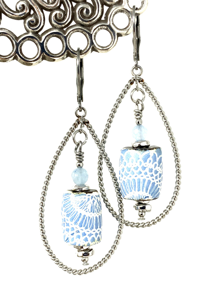 Blue and White Ceramic Lace and Amazonite Beaded Dangle Earrings #972E - Bead Dangle Design