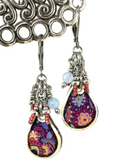 Fun Floral Ceramic and Amazonite Beaded Dangle Earrings #974E