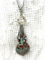 Hand Blown Borosilicate Glass Beaded Charm Pendant #2124D - Bead Dangle Design