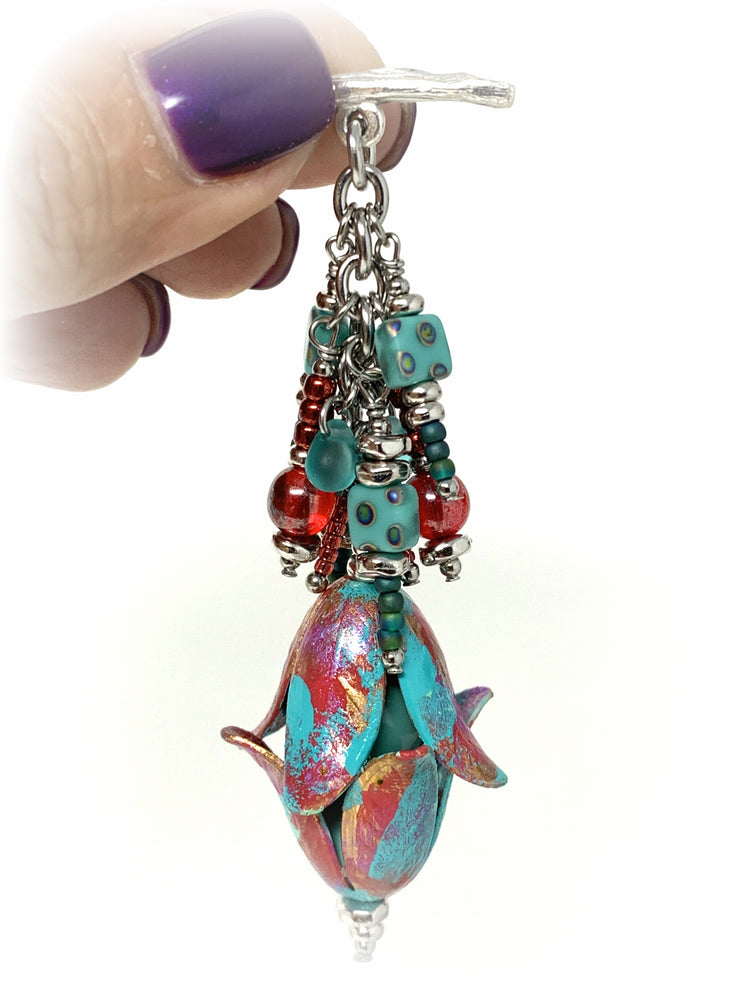 Coral and Turquoise Tulip Beaded Charm Pendant #2123D