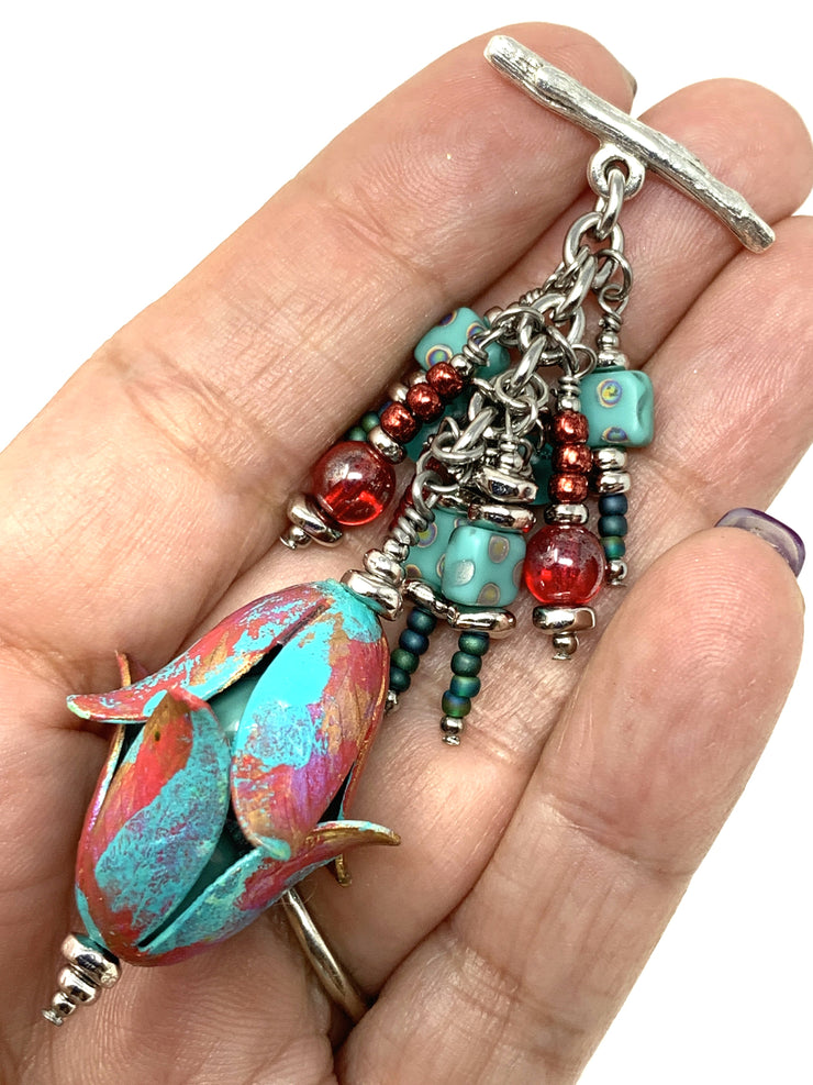 Coral and Turquoise Tulip Beaded Charm Pendant #2123D - Bead Dangle Design