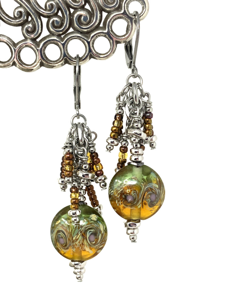 Brown and Green Lampwork Glass Swirl Beaded Dangle Earrings #980E - Bead Dangle Design