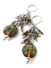 Brown and Green Lampwork Glass Swirl Beaded Dangle Earrings #980E