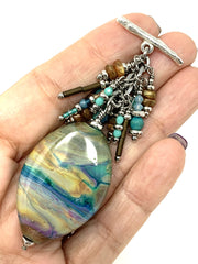 Lampwork Glass Beaded Dangle Pendant #2134D