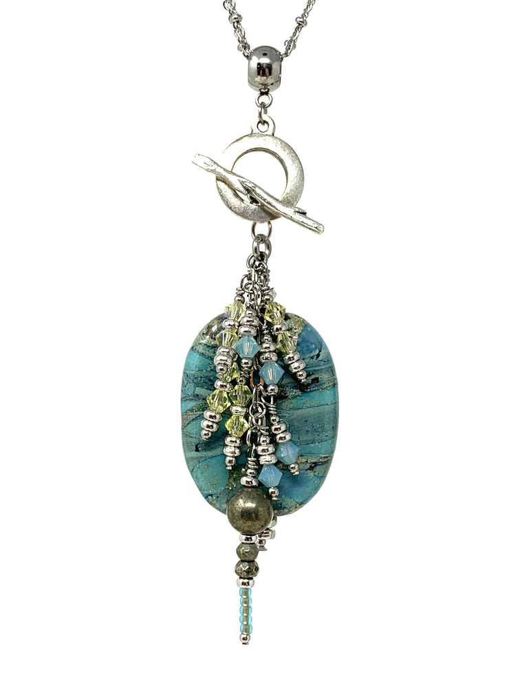 Lampwork Glass Beaded Dangle Pendant #2135D