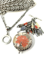 Mystic Moonstone Coral Floral Beaded Porcelain Dangle Pendant #2139D - Bead Dangle Design