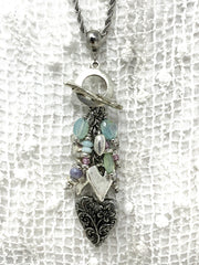 Floral Heart and Chalcedony Beaded Dangle Pendant #2143D