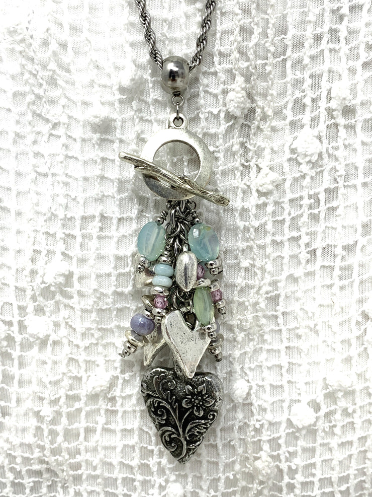 Floral Heart and Chalcedony Beaded Dangle Pendant #2143D - Bead Dangle Design