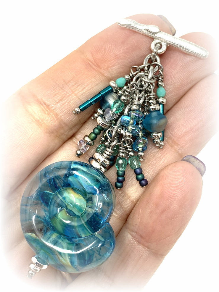 Lampwork Glass Shell and Seed Bead Beaded Dangle Pendant #2144D - Bead Dangle Design