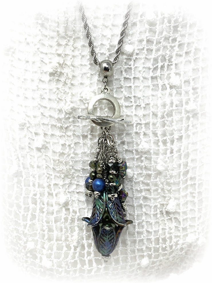 Pyrite Patina Tulip Beaded Dangle Pendant #2147D