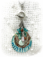 Large Handmade Polymer Clay Beaded Dangle Pendant #2151D - Bead Dangle Design