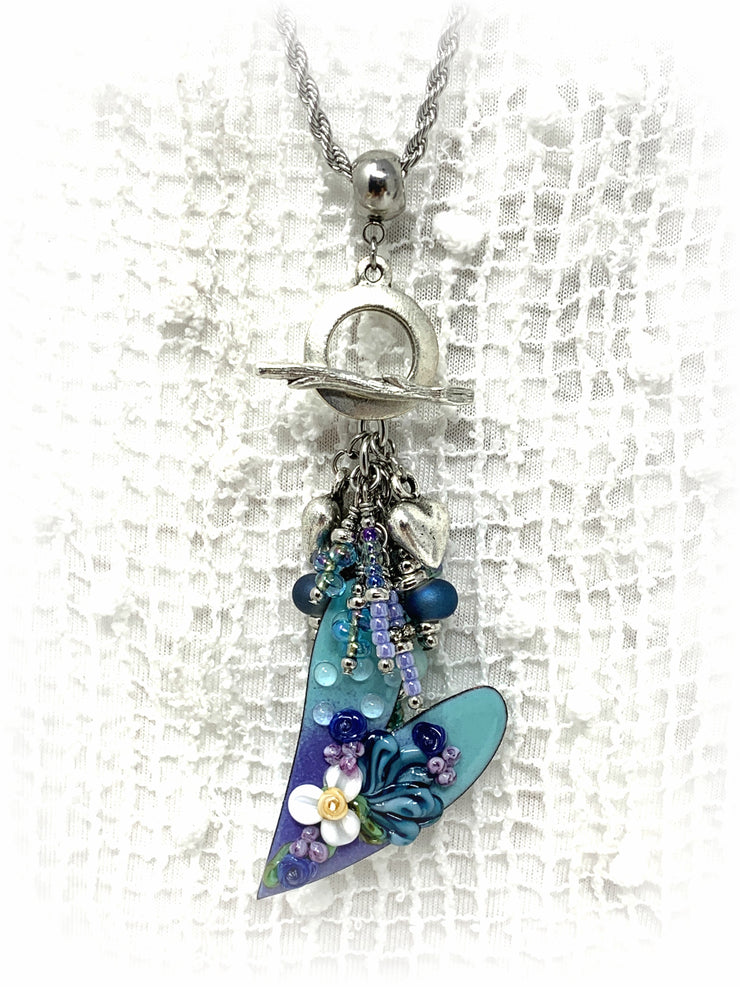 Lampwork Glass Painted Enamel Tilted Heart Beaded Dangle Pendant #2154D - Bead Dangle Design